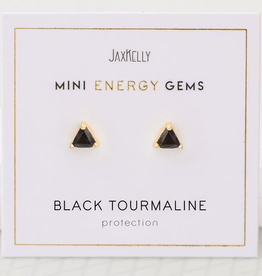 Everyday Mini Triangle Gem Earrings - Black Tourmaline