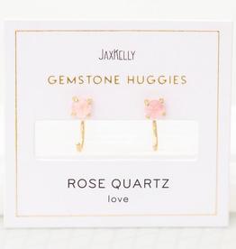 Everyday Gemstone Huggie Earrings - Rose Quartz