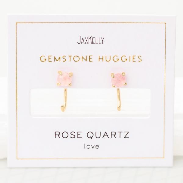 Everyday Gemstone Huggies Earrings - Rose Quartz