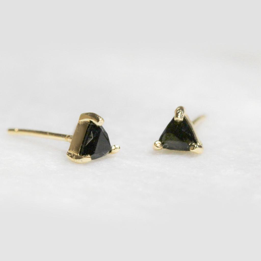 Everyday Mini Triangle Gem Earring - Black Tourmaline