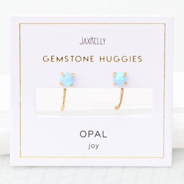 Everyday Gemstone Huggie Earrings - Opal