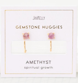 Everyday Gemstone Huggies Earrings - Amethyst