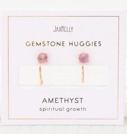 Everyday Gemstone Huggies Earrings - Amethyst