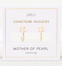 Everyday Gemstone Huggies Earrings - Pearl