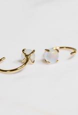 Everyday Gemstone Huggie Earrings - Mother of Pearl