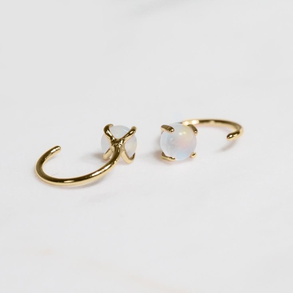 Everyday Gemstone Huggies Earrings - Pearl