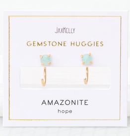 Everyday Gemstone Huggie Earrings  - Amazonite