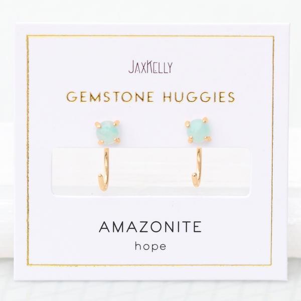 Everyday Gemstone Huggies Earrings - Amazonite