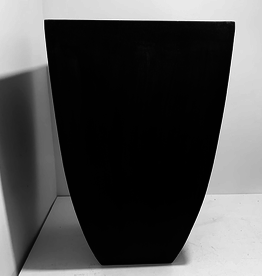 "Everyday 17"" x 33"" Fibrestone Black Square Top Planter Tapered with Rounded Edges"