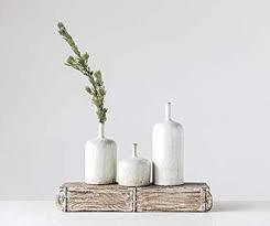 "Everyday 5"" x 9.5"" White Stoneware Vase with Reactive Glaze"
