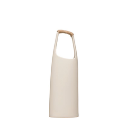 """Everyday 15"""" Tall Stoneware White Vase with Rattan Wrapped Handle"""
