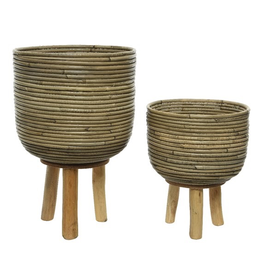 "Everyday 9"" x 12"" Rattan Planter with Wooden Legs"