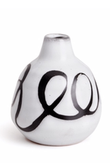 "Everyday 4.5"" Tall Black & White Mombasa Swirl Vase"