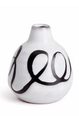 "Everyday 4.5"" Tall Black & White Mombasa Swirl Vase"