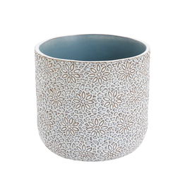 "Everyday 4.5"" x 5"" White & Blue Millie Pot in a Floral Pattern"