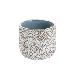 "Everyday 3"" x 2.5"" White & Blue Millie Pot in a Floral Pattern"