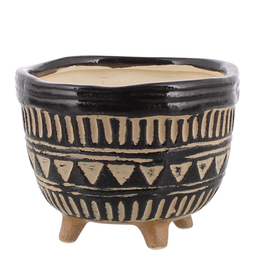 Everyday Large Black & Beige Apache Print Footed Bowl