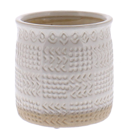 "Everyday 5"" x 5"" White Cheyenne Textured Ceramic Pot"