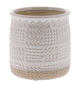 "Everyday 8"" x 8"" White Cheyenne Textured Ceramic Pot"