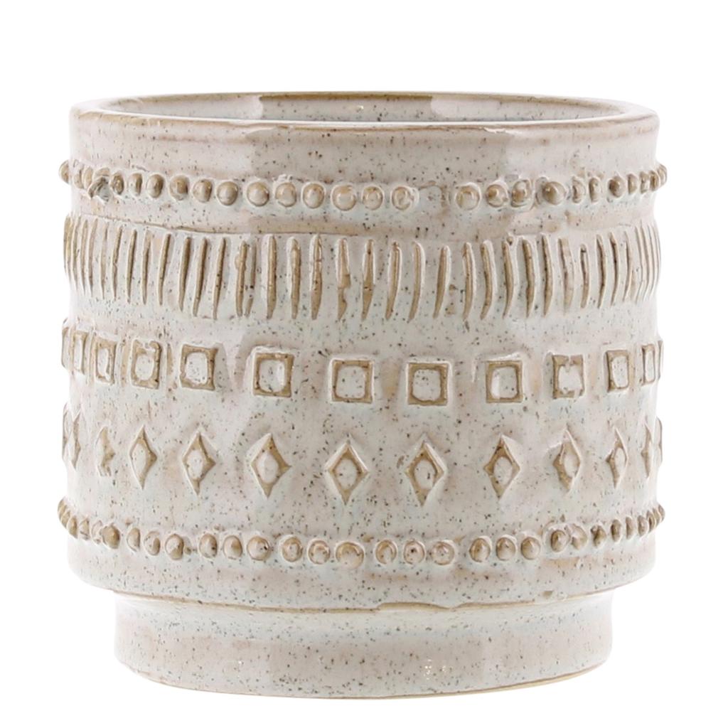 "Everyday 5"" x 4.5"" White Patterned Ceramic Peru Pot"