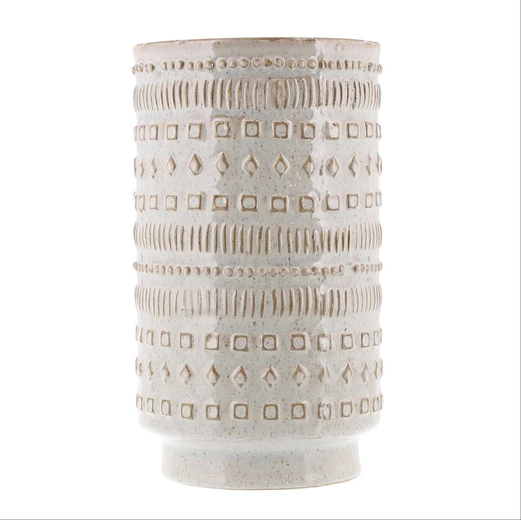 Everyday Vase, Patterned, White Ceramic, Peru