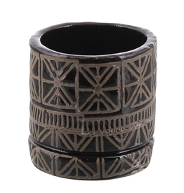"Everyday 2.5"" x 3"" Black & Natural Cusco Ceramic Pot"