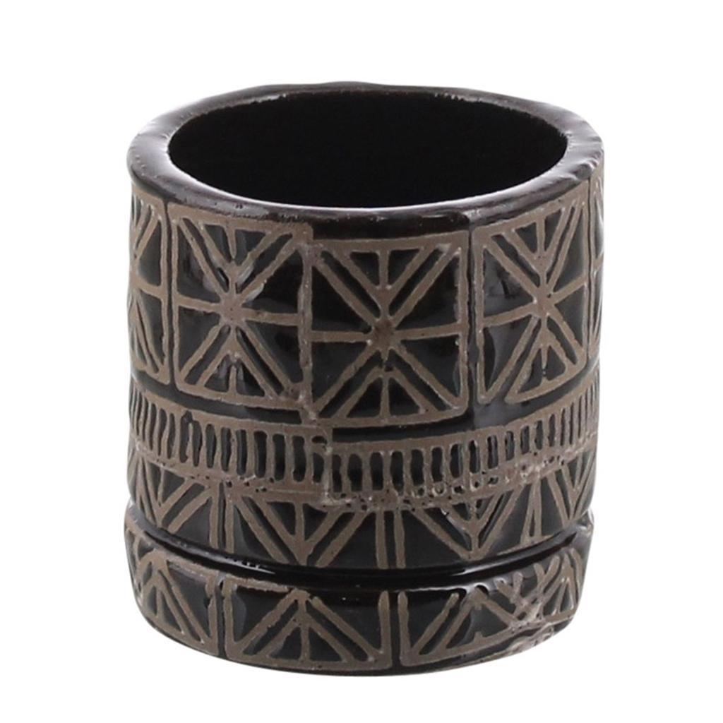 "Everyday 6"" x 6"" Black & Natural Cusco Ceramic Pot"