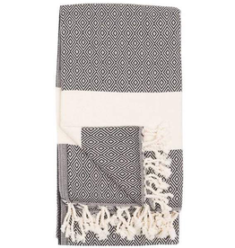 Everyday Towel, Turkish, Diamond Pattern, Carbon