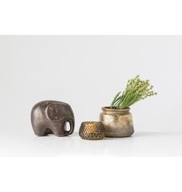 Everyday Metallic  Reactive Glaze Terra Cotta Elephant