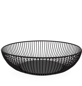 "Everyday 11"" x 3"" Short Black Linear Rib Metal Basket"