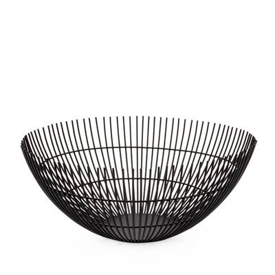 "Everyday 11"" Black Linear Rib Metal Basket"