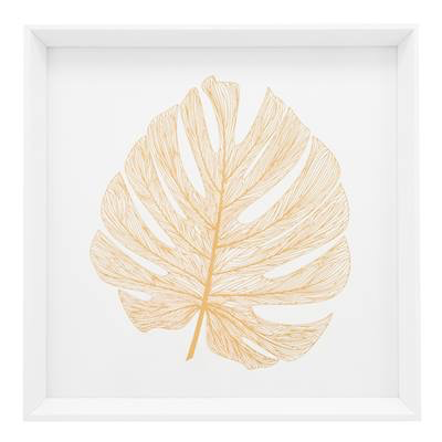 """Everyday 17"""" Square Gold Monstera Leaf Canvas Print"""
