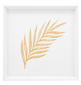 "Everyday 17"" Square Gold Feathered Palm Leaf Canvas Print"