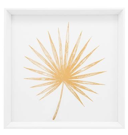 "Everyday 17"" Square Gold Spike Palm Leaf Print Canvas"