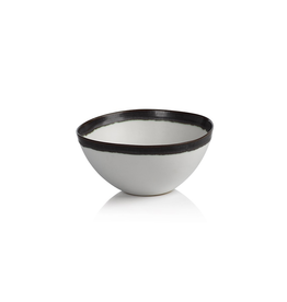 "Everyday 6.25"" White with Black Rim Ceramic Bowl"