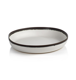 "Everyday 14"" White with Black Rim Ceramic Shallow Bowl"