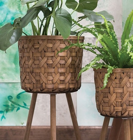 "Everyday 27.75"" x 14.75"" Bam Wicker Basket Plant Stand"