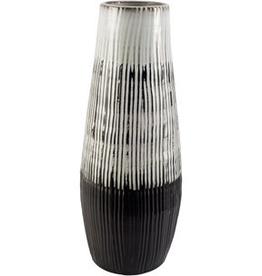 """Everyday 18.5"""" Dark Brown and White Tanami I Ceramic Vase"""