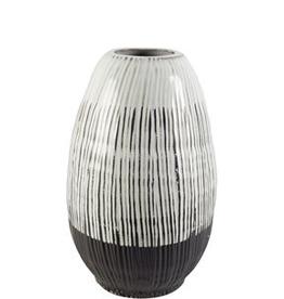 "Everyday 13"" Dark Brown and White Tanami II Ceramic Vase"