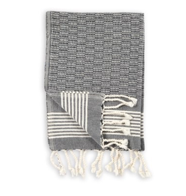 Everyday Black Textured Turkish Hand Towel