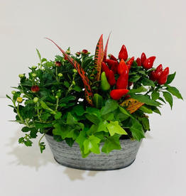 """Fall 8"""" Fall Arrangement in Oval Tin Container"""