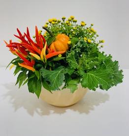 "Fall 7"" Ceramic Bowl with Fall Arrangement"