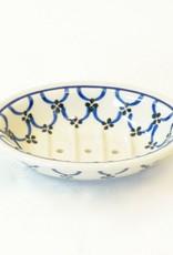 Everyday Ceramic white & blue patterned soap dish.