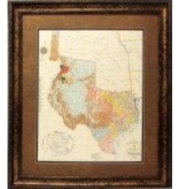 Texas Art - 1845 Texas Map 37x43