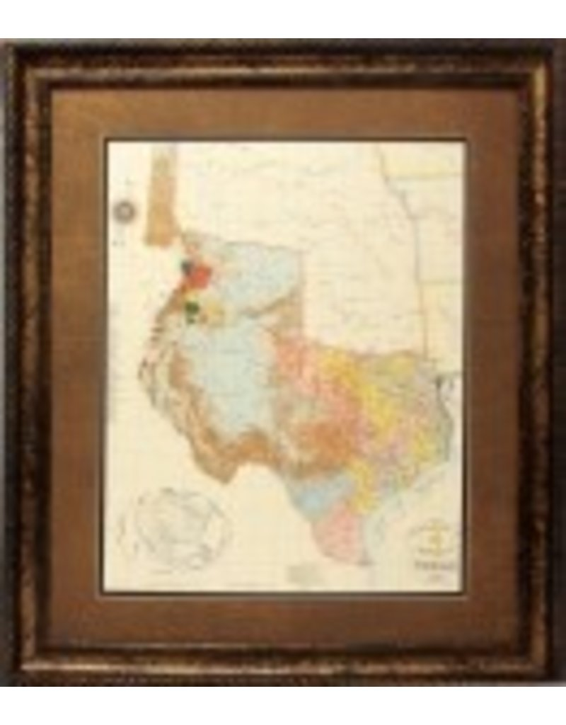 Texas Art - 1845 Texas Map 37x43