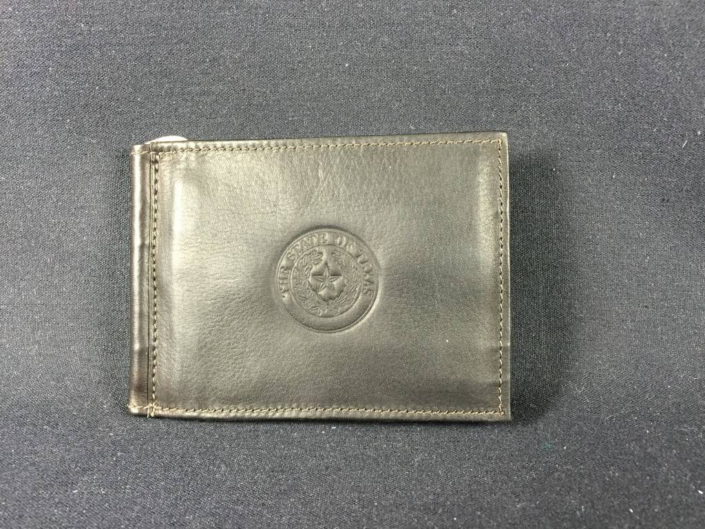 Bi-fold Money clip - Choc - Texas State Seal