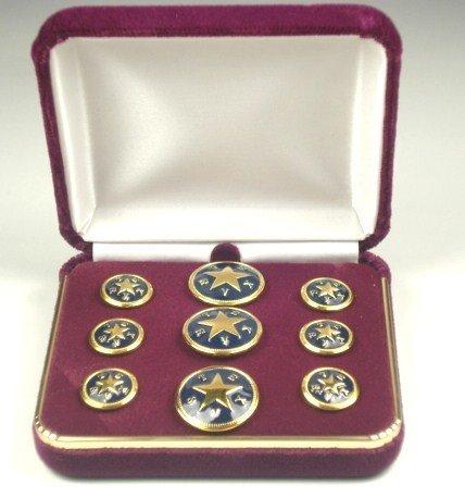 Blazer Button Set - Brass w/ Blue - Texas Star