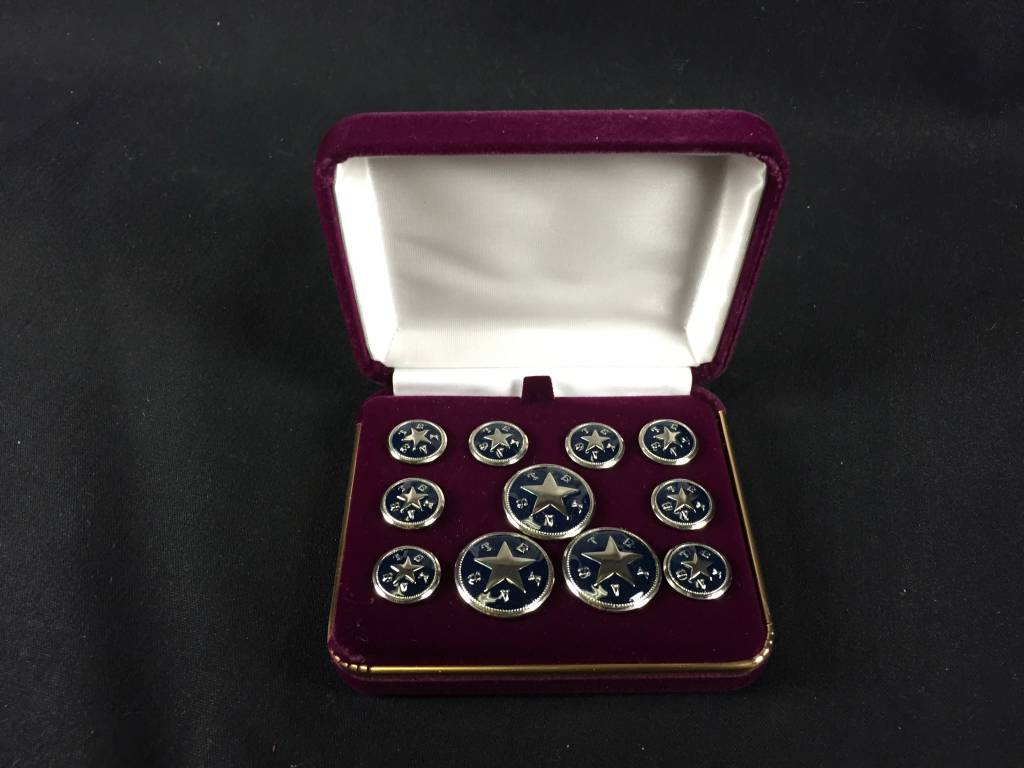 Blazer Button Set - Nickel w/ Blue - Texas Star