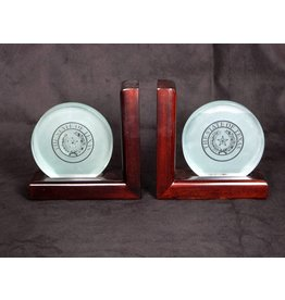 Bookends - Small Etched Glass - Texas State Seal