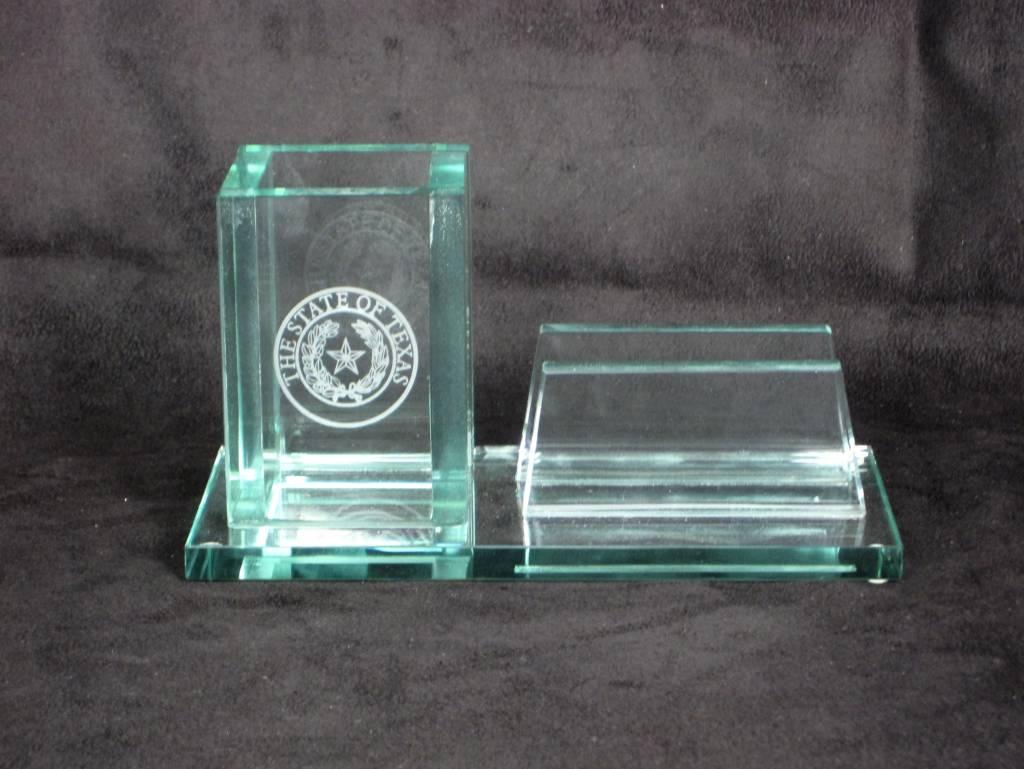 Business Card & Pen Holder - Jade - Texas State Seal